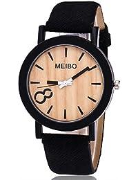 Goodsatar MEIBO Modelado Cuarzo de madera De los hombres Reloj Casual Color de Madera Reloj De Cuero Vidrio + Cristal + Acero Inoxidable (C)