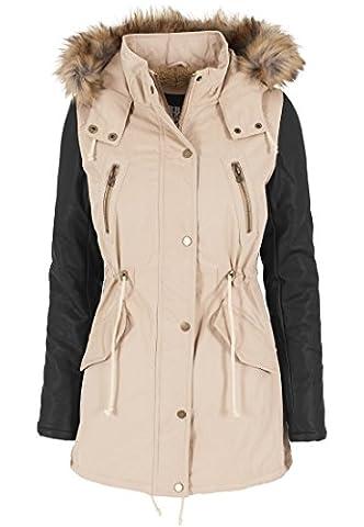 Urban Classics Damen Jacke Jacke Leather Imitation Sleeve Parka mehrfarbig