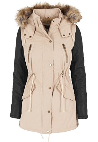 Urban Classics Damen Jacke Jacke Leather Imitation Sleeve Parka mehrfarbig (Sand/Blk) X-Small
