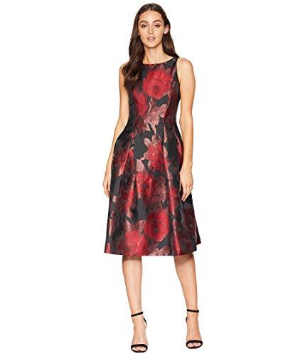 Tahari ASL Womens Tea-Length Floral Metallic Jacquard Dress