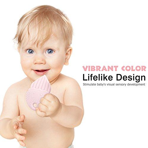 Zooawa Beißringe Baby Ring Teether, Lebensmittel Grade Silikon Kühlbeißring Säugling Zahnen Spielzeug für Babys kühlend, BPA-Frei, für 3–18 Monaten Infants, Quallen