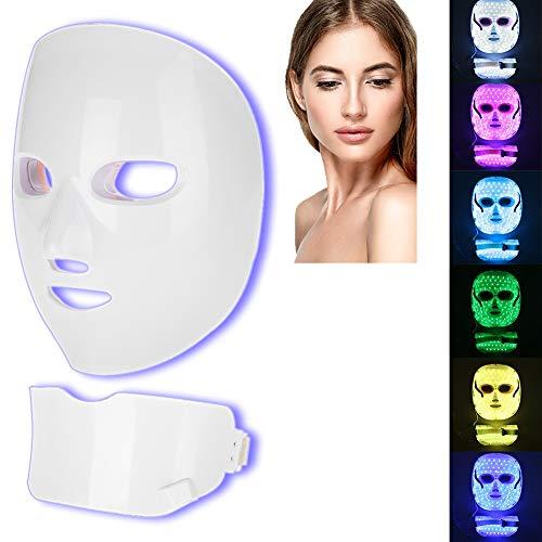 7 Farben LED Maske Gesichts Licht Hautverjüngung Gesichtspflege Beauty Photon Maske Gesicht Hautstraffung Schönheit Maschine für Akne Faltenentfernung und Bleaching (EU-Stecker) -