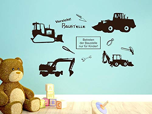GRAZDesign Wandtattoo Baustellenfahrzeuge groß - Wandgestaltung Wandaufkleber Jugendzimmer Baustelle Set - Spielzimmer Deko Bagger Werkzeug / 150x57cm / 770037_57_071 - Spielzimmer-set
