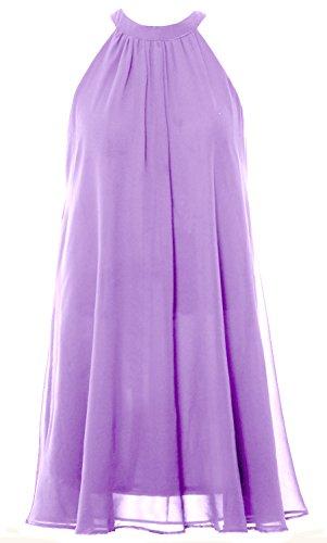 MACloth Women Halter Chiffon Cocktail Dress Short Wedding Party Formal Dress Lavendel