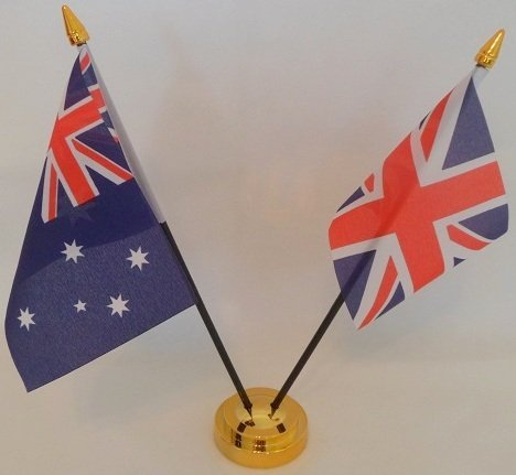 Australien Union Jack Flagge 2Freundschaft Tisch mit Gold Boden Desktop Tisch Mittelpunkt Flagge Flaggen mit Gold Grundlagen ideal für Party Konferenzen Büro Display