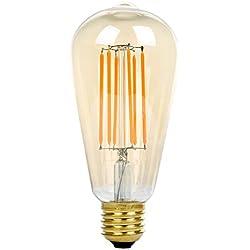 ST64 8W LED Bombilla de Filamento, Bulbo Dorado , E27 Base, NATIONALMATER, Bombilla Vintage LED ,Lámpara de Hogar ,500 LM, Equivalent to 60w Bombillas Incandescentes Blanco Cálido 2200K , 220V - 240V ,360 Grados de Ángulo de Haz