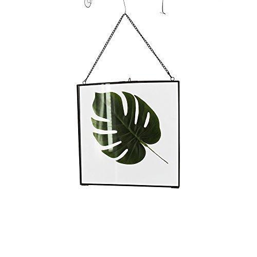 JYSPT Glas-Bilderrahmen zum Aufhängen, modern, handgefertigt, mit Metallseil im Vintage-Stil, Chic Glasornament für Heimdekoration, Glas, 24.5X1X24.5cm
