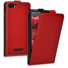 kwmobile Funda para Wiko Lenny 2 - Flip Case para móvil en cuero sintético - Cover plegable rojo oscuro