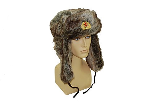 GIZZY(R) Unisex Adults Faux Fur Ushanka Trapper Hat with Russian Badge