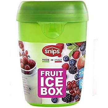 2x2x2 cm Snips Contenitore refrigerato con cucchiaino Yogurt con Coperchio trasportino Barattolo per Alimenti Porta Frutta White-Blue