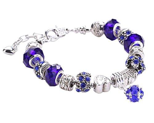 Minetom Donne Ragazze Gioielli Bracciali Moda Diy Strass Bicchiere & Cristallo Perline Metallo Catena Blu Scuro