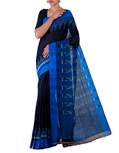 Unnati Silks Women Black-Blue Pure Handloom Sambalpuri Cotton Ikat Saree(UNM22006)