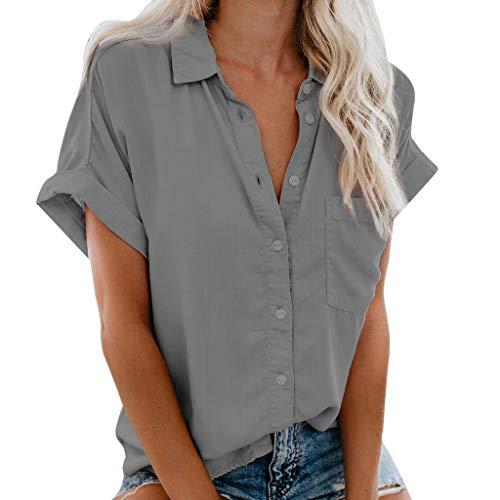 Oyedens Oberteile Damen Sommer Elegant Große Größen, Damen Oberteile Shirt Damen V-Ausschnitt Knopfleiste Damen T-Shirt Kurzarm Tasche Taste T-Shirt Casual Pop Shirt Top (S-3Xl) -