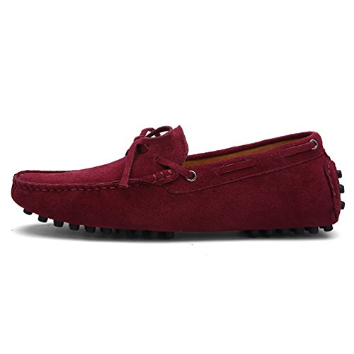 Baymate Unisexe Loafers Chaussures à Enfiler Chaussures Bateau Pour Conduite Vin Rouge