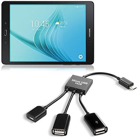 kwmobile Adaptador Micro USB 3en1 OTG HUb para Samsung Galaxy Tab A 9.7 T550N / T555N - Distribuidor micro USB en