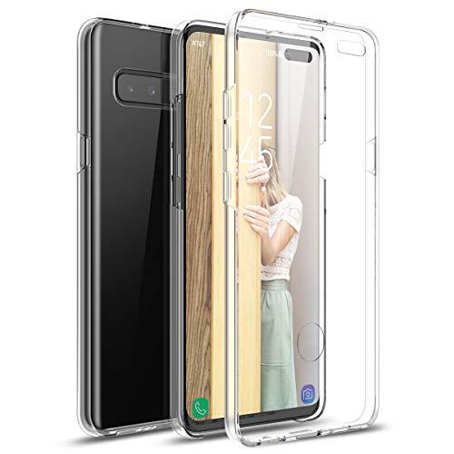 Winhoo Kompatibel mit Samsung Galaxy S10 5G Hülle 360 Grad Crystal Clear Transparent Hüllen mit Integriertem Bildschirmschutz Silikon & PC Handyhülle Schutzhülle für Samsung S10 5G Durchsichtige