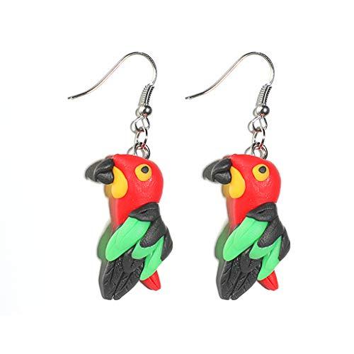 Lzf1110 Nette Bunte Papagei Ohrringe Frauen Handgefertigte Polymer Clay Cartoon Tier Schmuck -