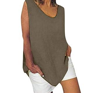 Damen Baumwolle Leinen T Shirt Sommer Leinen Oberteile Ärmellos Rundkragen Tank Tops Lang Weste Große Größen T-Shirt Oversized Einfarbige Bluse Lose Hemd Tunika