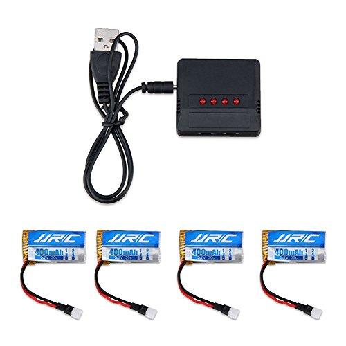 3,7V 400mAh Lipo Akku Batterie (4St) für Hubsan x4 107c 107d 107l JJRC H31 RC Quadcopter Drohne + 4 in 1 Batterien Ladegeräte