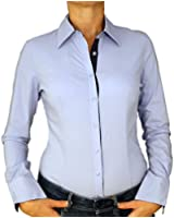 7965 Damen Stretch Bluse Bodybluse Blusenbody Baumwolle langarm einfarbig blau weiß schwarz S M L XL.