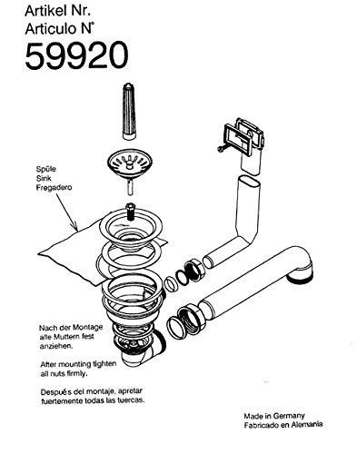 Keenberk Ventil-Ablaufgarnitur manuell 3,5 Zoll raumsparend mit Überlauf und Siebkorbventil, passend für 1 Becken Edelstahl-Spülen Überlauf max. 50 mm x 25 mm - Teka 59920