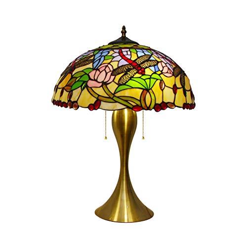 LYEJFF Klassische Nachttischlampe, große Tiffany-Tischlampe, Schreibtischlampe mit Libellen- und Schmuckglasschirm für Schlafzimmer, Wohnzimmer, E27-40CM - Tiffany-einzelne Licht Tischleuchte