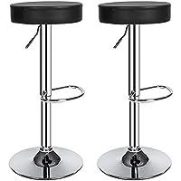 TecTake 2 Sgabelli da bar moderni set da 2 sgabello design cucina sedia regolabile nero