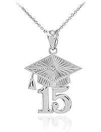 6d440c7d7de6 10 quilates 471 1000 Oro Blanco 2015 Klassen Graduación Colgante Collar