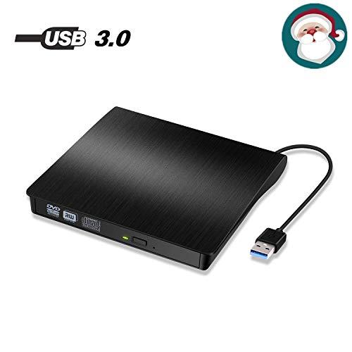 Grabadora DVD/CD Externa Lector,Unidad Externa de CD/DVD portátil Quemador USB 3.0 CD DVD RW ROW Reproductor para Windows XP / 2003 / Win 10 / Win 8 / Win 7 / Vista / Linux / Mac OS X ( Negro)