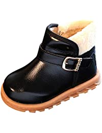 Zerototens Kids Boots, Fashion Baby Winter Thick Warm Snow Boots Children Slip On Waterproof Pu Leather Martin Boots Anti-Slip Ankle Boots Outdoor Walking Shoes 1-12 Years Old