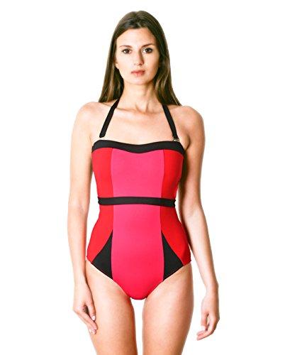 JOG Swimwear Tri-Colour, Colour Block Bustier Swimsuit with Detachable Straps