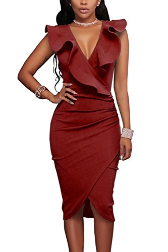 WIWIQS Womens V-Ausschnitt Sexy Rüsche Bodycon Party Cocktail Club Midi Kleid, Wein Rot, XL