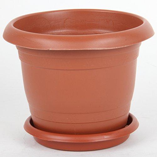 Antik Saksi Pot de fleurs en plastique avec fond rainuré pour intérieur ou extérieur, 12-40 cm, marron, Size 7 (36 cm)