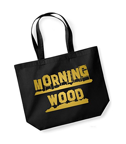 Morning Wood - Large Canvas Fun Slogan Tote Bag Black/Gold