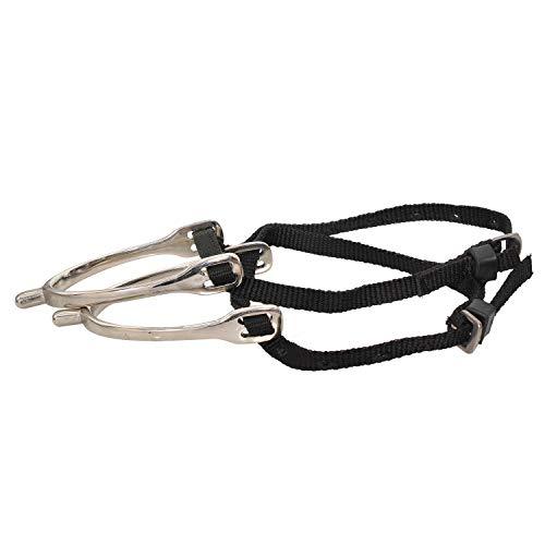 Bulaqi Pferdesporn mit Nylon-Steigbügel in schwarz für Alle Reiter – Herren und Damen – Messing, 12,7 cm