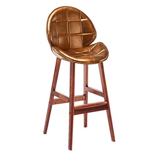 lxn Barhocker Pub Stuhl mit braunen Holzbeinen Rückenlehne Ölwachs Leder Pub Höhe Vintage lässig, perfekt für Esszimmer und Wohnzimmer, Theke, Bar - 1PCS - Hohe Rückenlehne, Braunes Leder