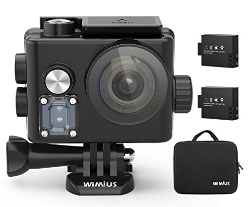 Galleria fotografica Action Cam, WiMiUS Action Cam 4k WiFi Impermeabile 40m Fotocamera Subacquea Full HD 12MP Sport Action Camera e 2 Batterie con Borsa Portatile (Nero)
