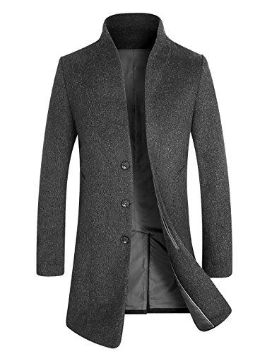 APTRO Herren Mantel Lange Business Übergangs Mantel 1681 Grau XL