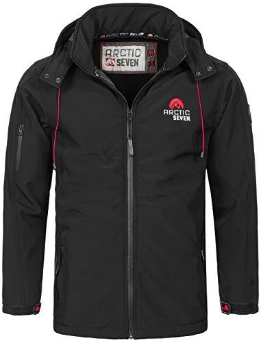Arctic Seven Herren Designer Softshell Funktions Outdoor Regen Jacke Sport AS087 [AS-087-Schwarz-Gr.5XL]