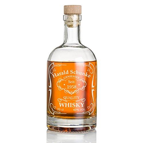 Whisky-Flasche 700 ml mit Korken Geschenk für Männer Whiskey-Karaffe mit Gravur Motiv Quality