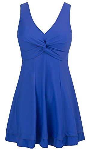 Einteiliger Figurformender Badeanzug Sommer Badekleidungsset Raffung Einteiler Bademode 44-46 Saphir Blau ()
