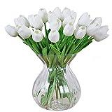 MEIWO Künstliche Tulpen, 10 Stück Real Touch Latex Künstliche Tulpen Blumen in Vasen für Hochzeit Sträuße/Home Dekor/Party / Graves Arrangement(Weiß)