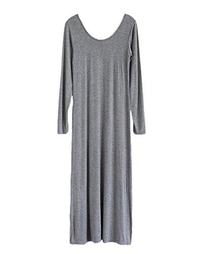 Femme Vogue Manches Longues Couleur Pure Maxi Robe Tenue DéContractée Gris foncé