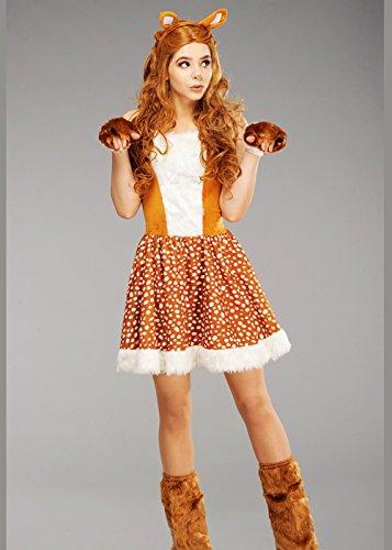 Magic Box Int. Erwachsene Frauen Bambi Stil Hirsch Kostüm M/L (UK 12-14) (Bambi Kostüm Für Erwachsene)