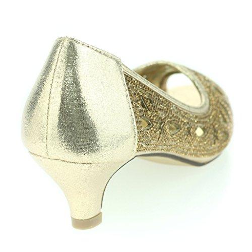 Femmes Dames Diamante Clouté Coupé Détail Peeptoe Kittenheel Soir Fête Mariage Bal de promo Des Sandales Chaussures Taille Or