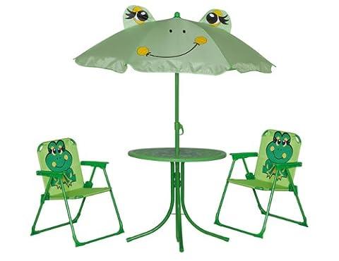 Siena Garden 672614 Froggy Set pour Enfants 2 Fauteuils Pliants + 1 Table + 1 Parasol Motif de Grenouille Acier