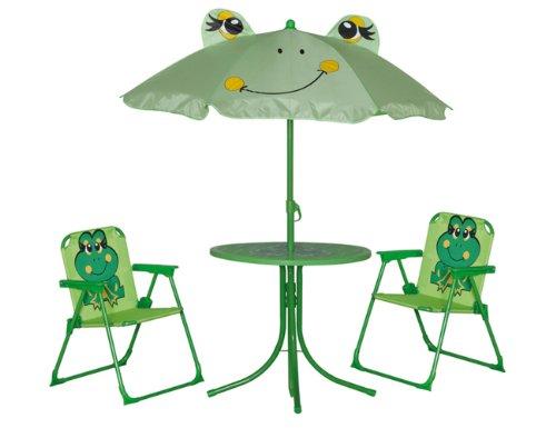 siena-garden-672614-kinder-set-froggy-2xklappsessel-1xtisch-1xschirm-stahl-gestell-grn-mit-froschmot