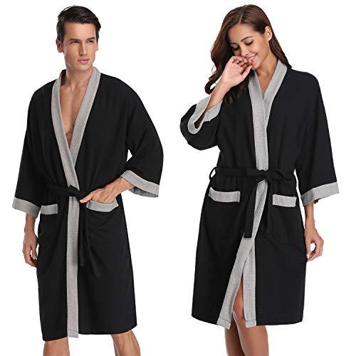 Vlazom Damen Bademantel Langarm Baumwolle Leicht Morgenmantel Waffel Sleepwear Mit V Kragen Kimono Saunamantel Robe -