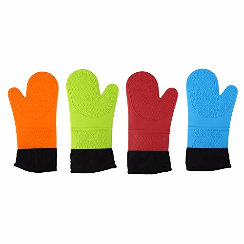 PVS Practical Silicone Gloves Microwave Oven Non-slip Mitt Cooking BBQ Kitchen Gloves Heat Resistant Home Oven Glove-Red