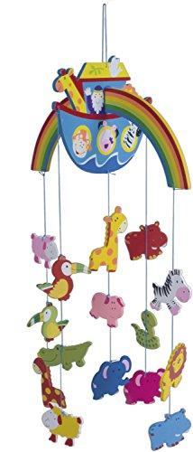 Bieco 3D Baby  Mobile Arche Noah aus robustem Holz, Viele bunte Safari Tiere erfreuen und beruhigen als Blickfang am Kinderbett, Wickeltisch oder am Spielebogen. Für Babys ab 0 Monaten. 23022090